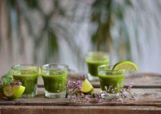 Chlorophyll mit Süßen Weizengras Shots