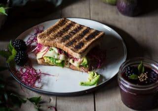 Avocado-Käse-Sandwich mit Brombeeren-Feigen-Senf