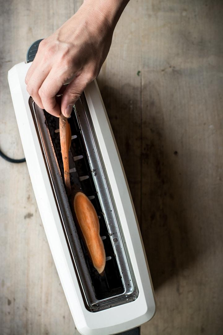 Süßkartoffeln toasten