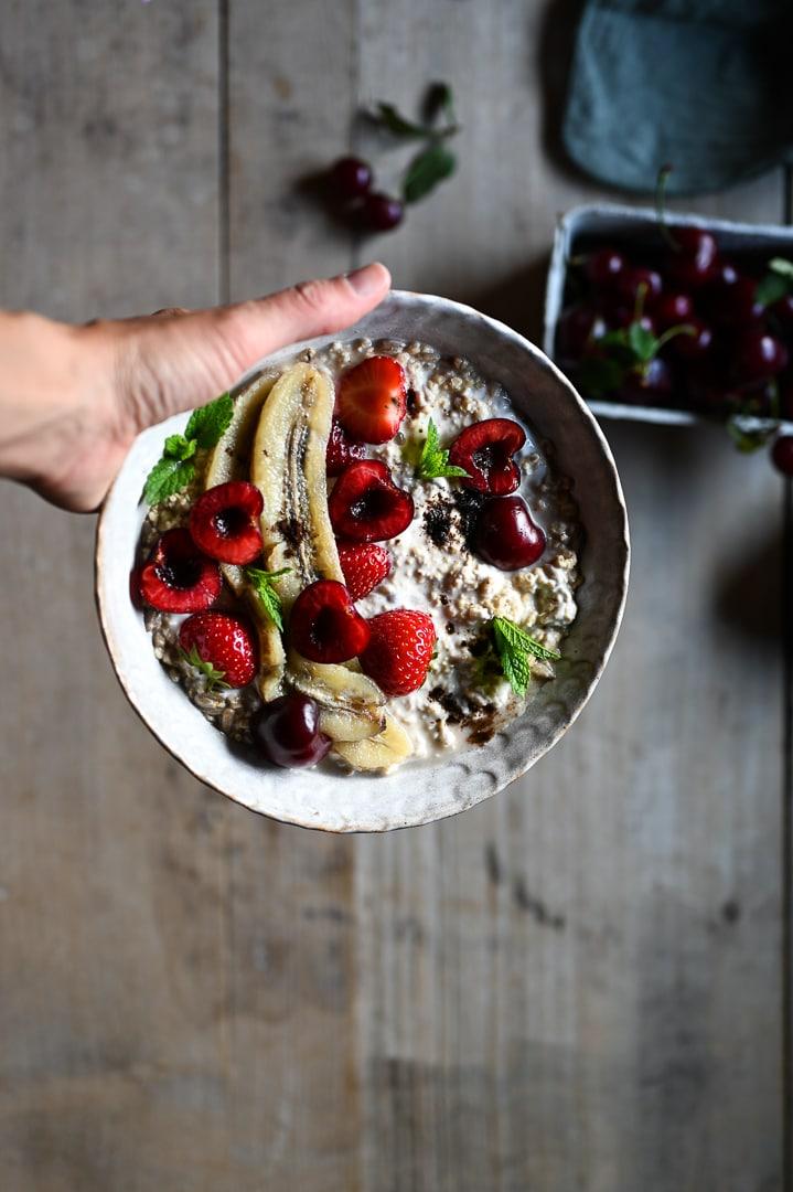 Gesundes Porridge vegan