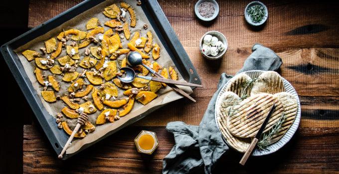 Butternut-Kürbis aus dem Ofen mit Feta und Walnüssen | Butternut-Kürbis richtig schneiden