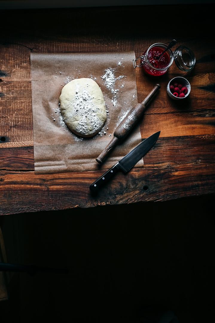 babka mit Himbeeren Hefekranz Hefezopf Zubereitung
