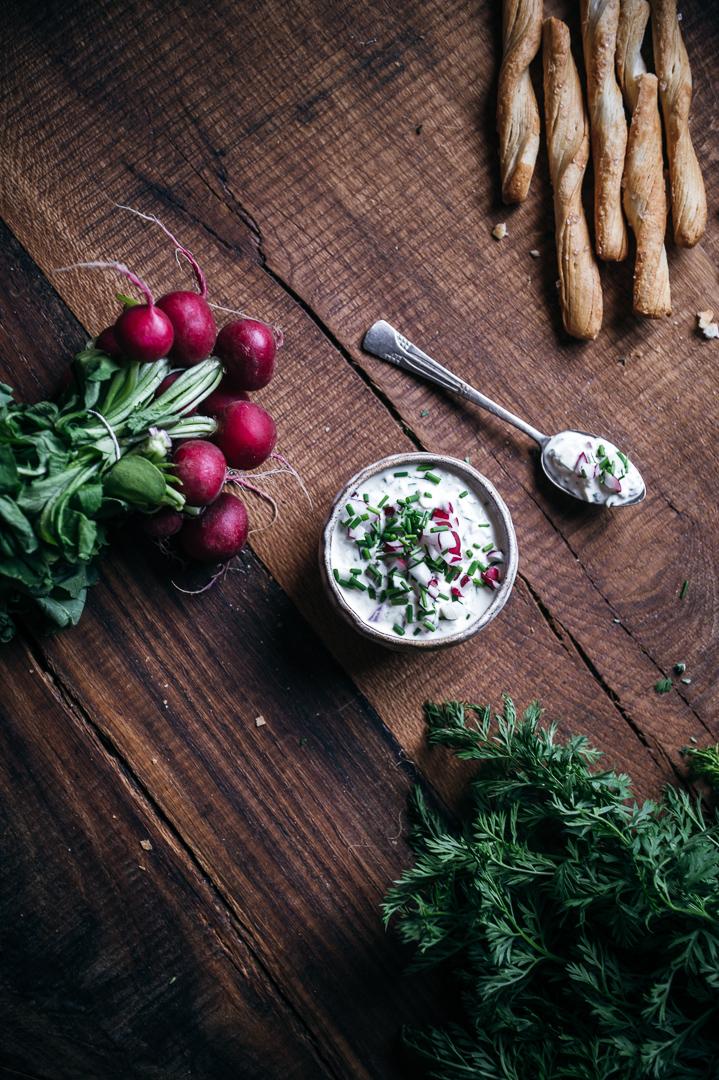Radieschen-Dip Food Fotografie