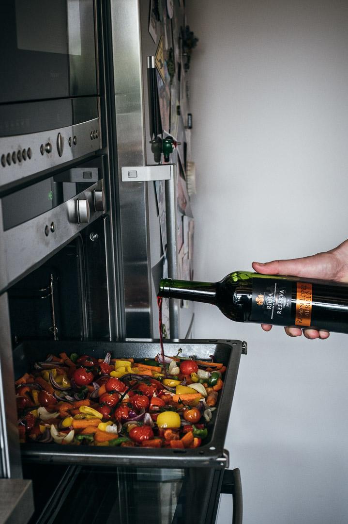 Ofengemüse mit Rotwein
